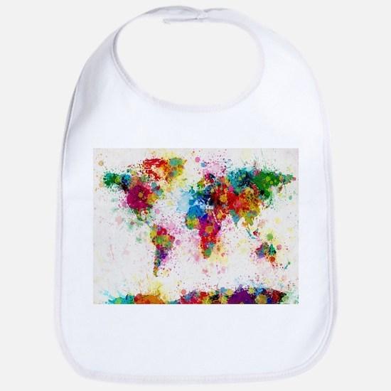 World Map Paint Splashes Baby Bib