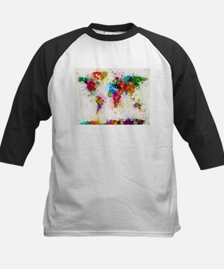 World Map Paint Splashes Baseball Jersey