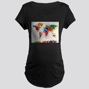 World Map Paint Splashes Maternity T-Shirt