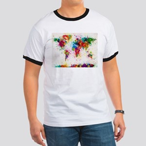 World Map Paint Splashes T-Shirt