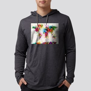 World Map Paint Splashes Long Sleeve T-Shirt