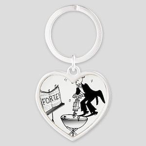 3813_kettle_drum_cartoon Heart Keychain