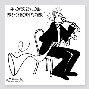 """4226_french_horn_cartoon Square Car Magnet 3"""" x 3"""""""