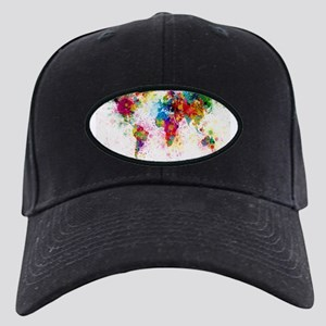 World Map Paint Splashes Black Cap with Patch