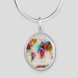 World Map Paint Splashes Necklaces