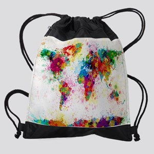 Canvas drawstring bags cafepress world map paint splashes drawstring bag gumiabroncs Gallery