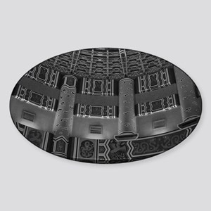 Temple Wall-BW-M Sticker (Oval)