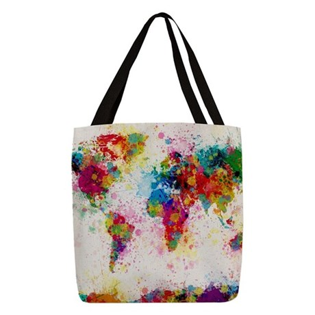 World Map Paint Splashes Polyester Tote Bag