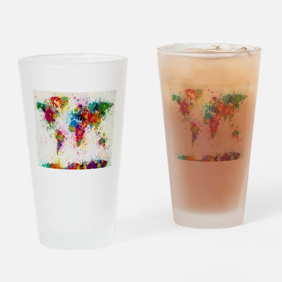 World Map Paint Splashes Drinking Glass