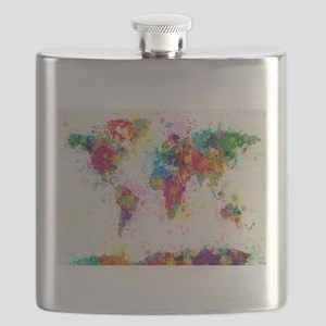 World Map Paint Splashes Flask