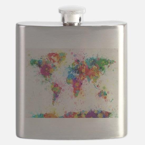 World Map Paint Splashes Flask
