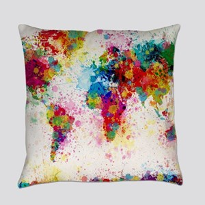 World Map Paint Splashes Everyday Pillow