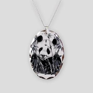 Grey Tone Panda Trans Necklace Oval Charm