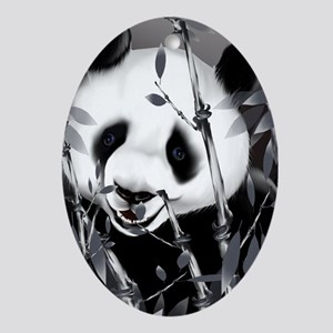 Large PosterpGrey Tone Panda2 Oval Ornament