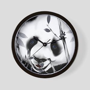 PillowGrey Tone Panda 2 Wall Clock