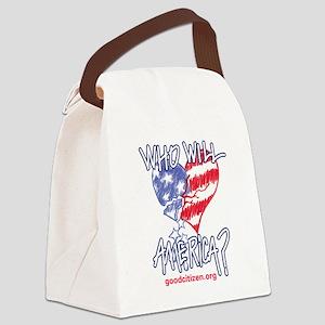Heart white tee shirt Canvas Lunch Bag