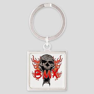 BMX skull 2 Square Keychain