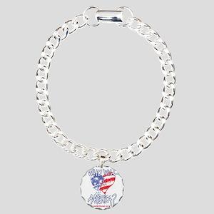Heart white tee shirt Charm Bracelet, One Charm