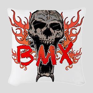 BMX skull 2 Woven Throw Pillow