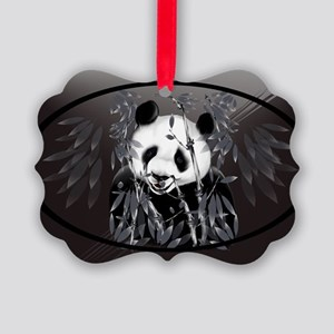 Wall Peel Grey Tone Panda Oval Picture Ornament