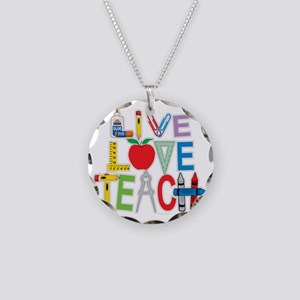 Live-Love-Teach Necklace Circle Charm