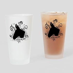 Black Head Logo Drinking Glass
