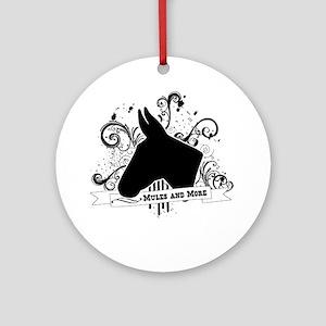 Black Head Logo Round Ornament