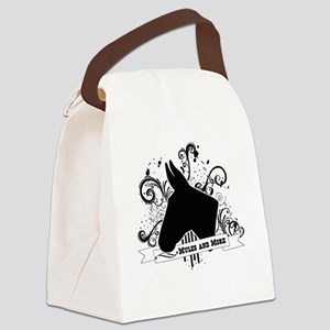 Black Head Logo Canvas Lunch Bag