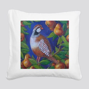Partridge in a Pear Tree Square Canvas Pillow