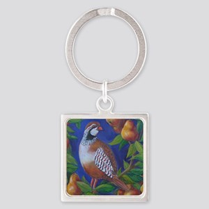 Partridge in a Pear Tree Square Keychain