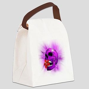 Purple Sugar Skull with Hibiscus Flower Canvas Lun