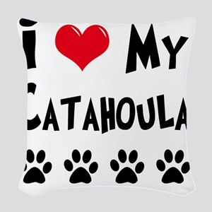 I-Love-My-Catahoula Woven Throw Pillow