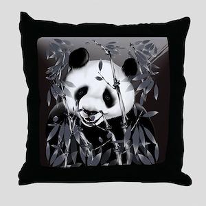 CalenderGrey Tone Panda Throw Pillow