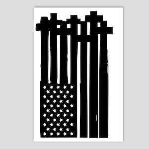American Flag Crosses Postcards (Package of 8)