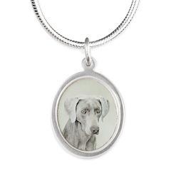 Weimaraner Silver Oval Necklace