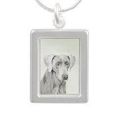 Weimaraner Silver Portrait Necklace