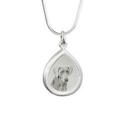 Weimaraner Silver Teardrop Necklace
