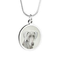 Weimaraner Silver Round Necklace