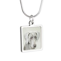 Weimaraner Silver Square Necklace