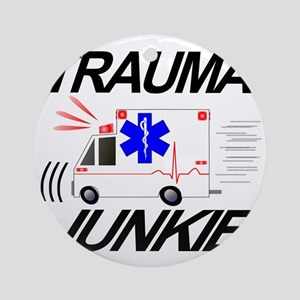 TRAUMA JUNKIE Round Ornament