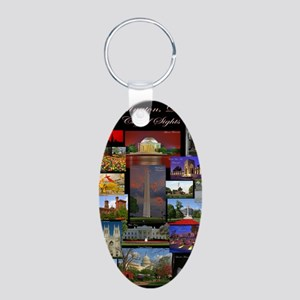 DC Collage Updated Aluminum Oval Keychain