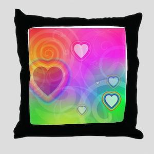 rainbowhearts Throw Pillow