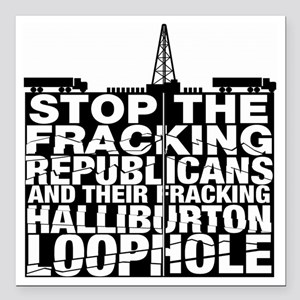 "StopFrackingRev_200 Square Car Magnet 3"" x 3"""