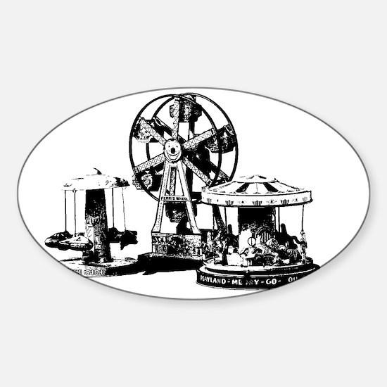 carnival black Sticker (Oval)