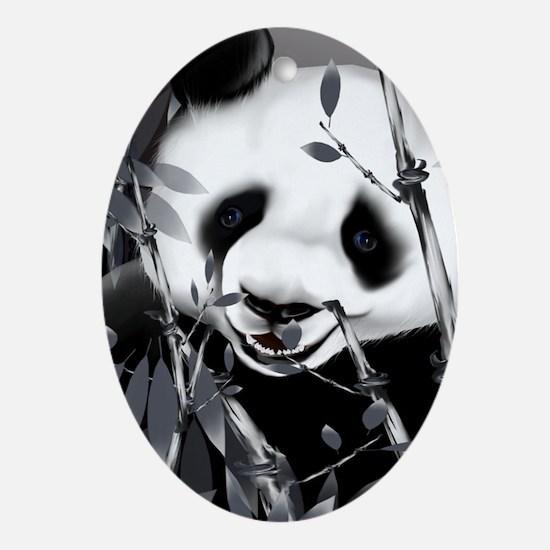 journalGrey Tone Panda2 Oval Ornament
