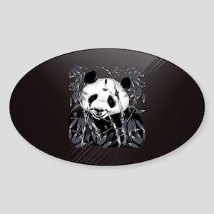 PatchGrey Tone Panda Sticker (Oval)