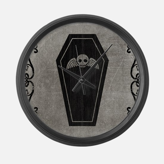 coffin_gray_13-5x18h Large Wall Clock