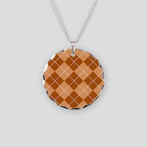 Brown Argyle Flip Flops Necklace Circle Charm