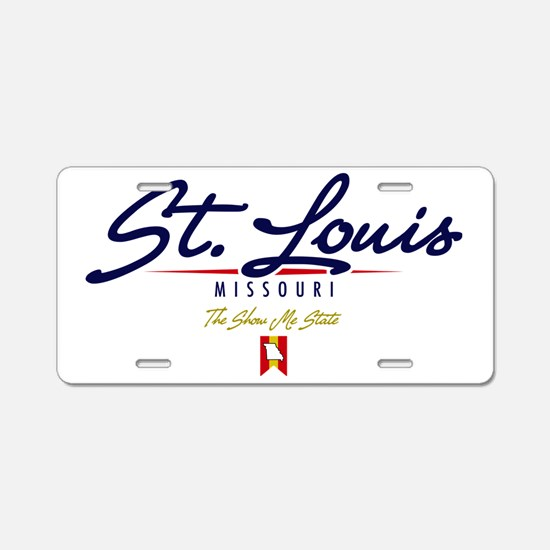 St Louis Script W Aluminum License Plate