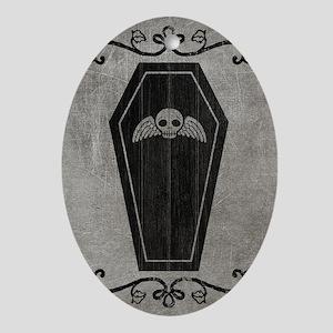 coffin_gray_12x18v Oval Ornament